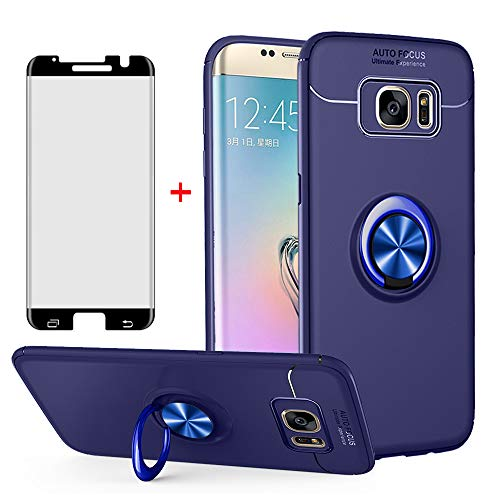 Phone Case for Samsung Galaxy S7 Edge with Tempered Glass Screen Protector Cover and Ring Holder Stand Kickstand Cell Accessories Slim Glaxay S7edge Gaxaly S 7 Plus Galaxies GS7 7s 7edge Cases Blue