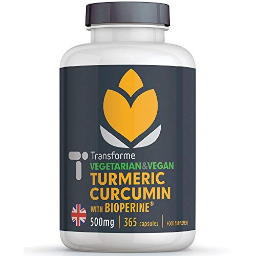 Turmeric Curcumin High Strength 500mg with BioPerine - Black Pepper Extract, 365 Vegan & Vegetarian Capsules, Up to 20 Times Better Absorption, Gluten Free, by Transforme