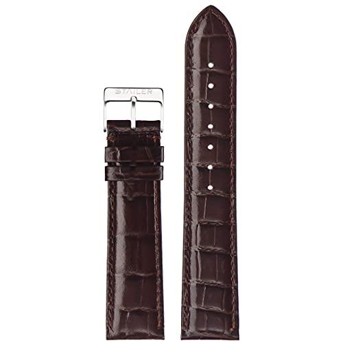 Correa de reloj de piel auténtica   Stailer Original Collection   Piel de becerro italiana con relieve de cocodrilo   Tamaño 22 mm, 20 mm, 18 mm, marrón, 18mm (M),