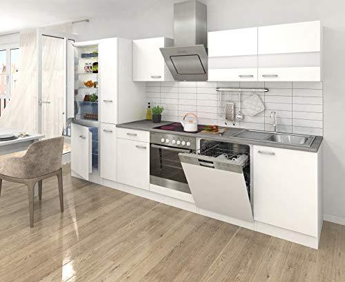respekta Küche Küchenzeile Küchenblock 310cm weiß weiß Kühlkombi Designhaube