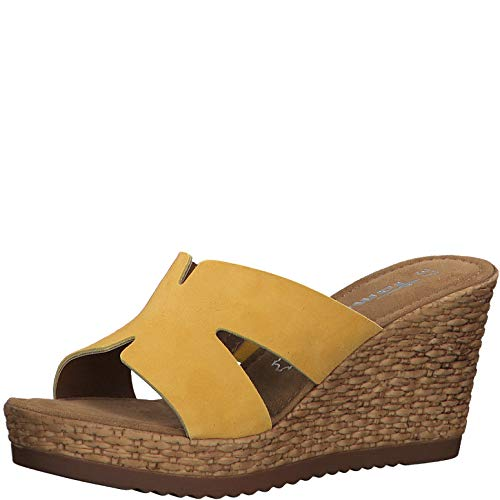 Tamaris Damen ClogsPantoletten 27242-34, Frauen Clogs, feminin elegant Women's Women Woman Freizeit leger Slipper Slides Sandale,Sun,38 EU / 5 UK