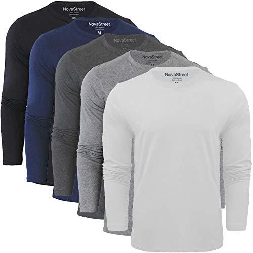 Kit 5 Camisetas Manga Longa Masculinas Slim Fit Novastreet, Colorido; Tamanho:P