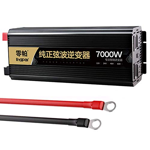 WBJLG Pure Sine Wave Power Inverter 2200w 3200w 5200w 6000w 7000w (Peak Power) DC 12V/24V to 240V AC Converter, with Dual AC Outlets & USB with LCD Display,24V-5200W