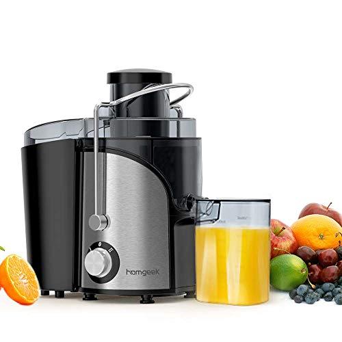 Homgeek Entsafter, Zentrifugal Entsafter für Obst und Gemüse, 2 Speed und Überhitzungsschutz, Juicer mit Anti-Tropf-Funktion, 500ml Saftbehälter und Reinigungsbürste, BPA Frei, 600W, leise, Silber