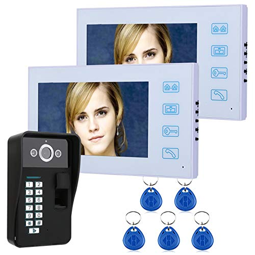 Videoportero, intercomunicador, timbre de video con cable de 7 pulgadas, 2 monitores LCD + cámara de seguridad de visión nocturna, desbloqueo de contraseña de huella digital RFID