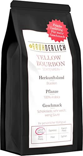 BRÜHDERLICH Premium Kaffeebohnen Arabica Yellow Bourbon (500g) - Außergewöhnlich Mild und Säurearm - Besondere Kaffeebohnen aus Brasilien - Harmonische Grundsüße und unglaublich Weiches Aroma