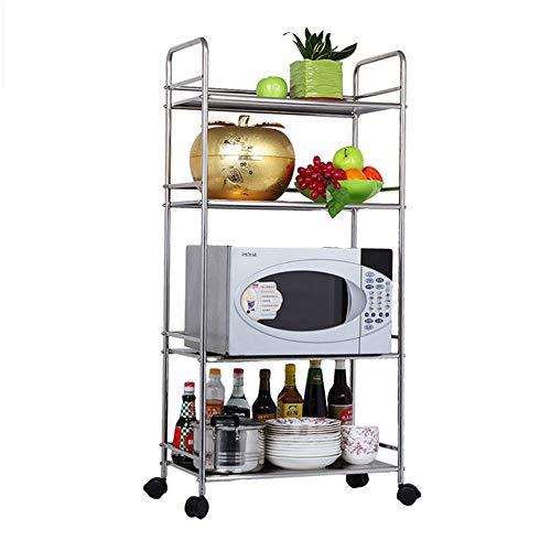 ZZPH Standing Shelf Units Pantry Closet Kitchen Laundry 4 Tier Storage Rack Wire Shelving Unit Storage Shelves Metal for Kitchen Bathroom Laundry Room (Color : Silver, Size : 60X35X120CM)