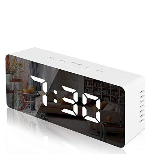 Lambony Sveglia - Sveglia Digitale a Specchio con Temperatura, Display a LED, luminosità Regolabile, USB e alimentata a Batteria, per Camera da Letto, Ufficio, Bianco(Nuova Versione)