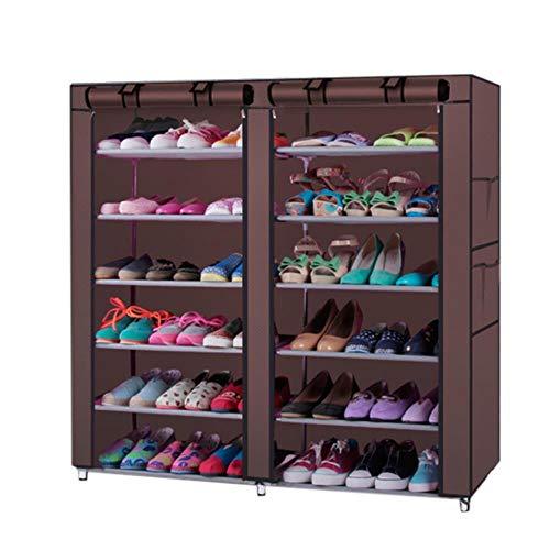 Gabinete de zapatos de estilo combinado de doble fila 9 celosías Coffee-47369143