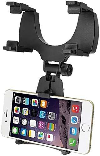 Soporte de móvil para Coche Espejo retrovisor Delantero. Soporte para móvil o GPS de Espejo Interior. Accesorios de teléfono para Coche Universal y Flexible.