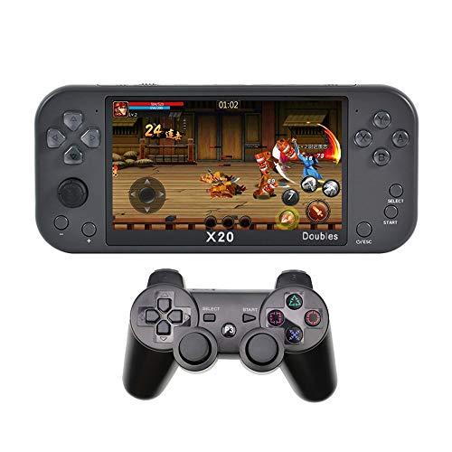CZT nouveau 5.1 pouces Console de jeu à deux joueurs avec manette sans fil intégrée à 9000 jeux rétro prenant en charge la vidéo/musique/livre électronique/dictionnaire électronique/sortie HDMI (Gris)