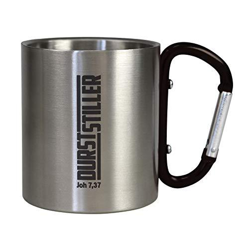 Christliche Geschenkideen Camping Tasse Outdoor Durststiller mit Karabiner als Griff, doppelwandiger Edelstahl (schwarz)