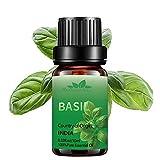 Olio essenziale basilico bio per diffusori,olio profumato basilico di grado terapeutico Mumianhua 10ml oli essenziali basilico puro per pelle, casa,aromaterapia,umidificatore,produzione di candele