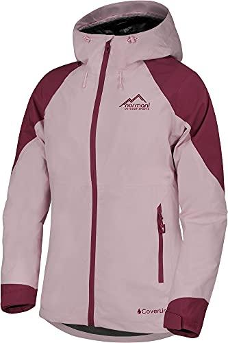 normani Damen wasserdichte, Lange Regenjacke - leichte, atmungsaktive Outdoorjacke mit Kapuze Windbreaker - Wassersäule: 20.000 mm Farbe Rosa Größe 3XL
