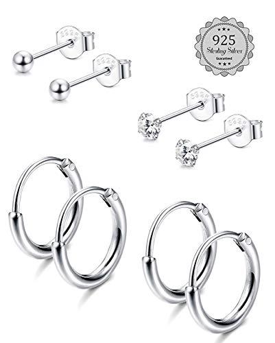 Milacolato Ohrstecker-Set 4pairs Ohrringe Damen Premium Ohrstecker 925 Silber mit Kreis Rund Kugel