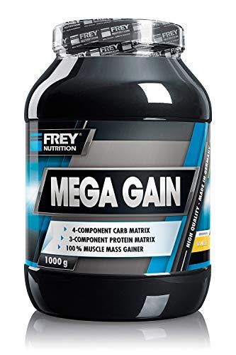 FREY Nutrition MEGA GAIN (Vanille, 1000 g) Weight Gainer - Für Hardgainer besonders geeignet - Optimale Versorgung mit Kohlenhydraten - Trägt zu einer Zunahme an Muskelmasse bei