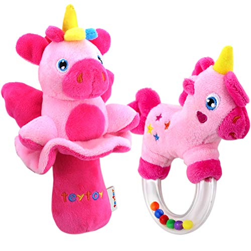 teytoy 2pcs Soft Baby Rattles, Pink Horse & Angel Pig Baby Girl Toy 3 6 9 12 Month Baby Shower