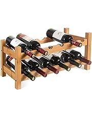 Regał na butelki z bambusa, na 12 butelek, stojak na wino, stojak na butelki, stojak na wino, uchwyt na butelki wina, 60 x 24 x 25 cm