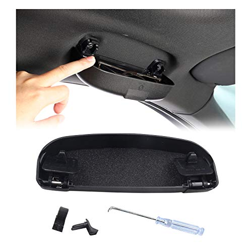 BIXUAN Soporte para gafas de coche compatible con Benz GLA Clase X156 / C-Clase W205 / GLC SUV X253 / B-Clase W246 / A-Clase W176. Organizador de gafas multifunción con caja para puerta