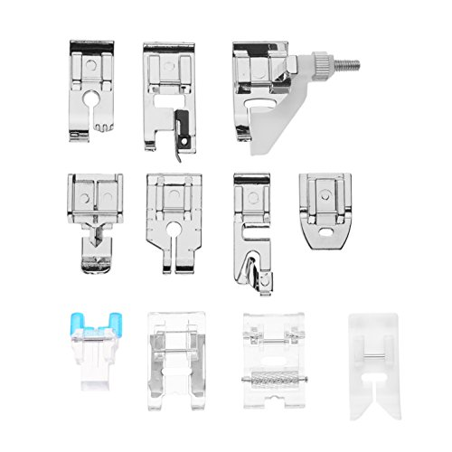 Kloud City Pack of 11 In Set Domestic Sewing Machine Presser Foot Spare Parts Accessories for Janome Brother Singer NewHome Elna Toyata