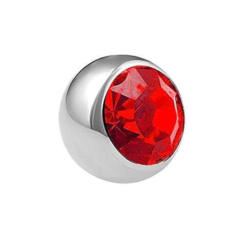 Treuheld® | Zilveren piercing kogel met schroefdraad met kristal