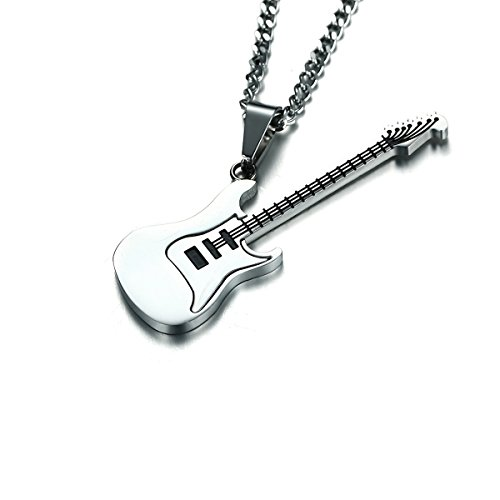 BESTOYARD Herren Halskette Gitarre Musik Edelstahl Halskette Anhänger mit Kette (Silber)