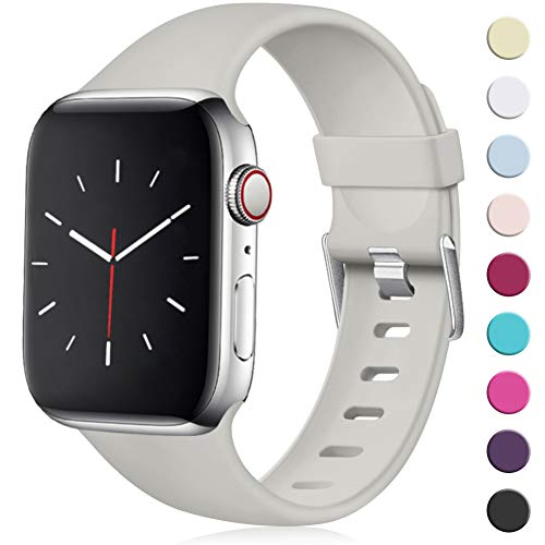 Maledan Compatibile per Cinturino Apple Watch 44mm 42mm, [Classica Fibbia] Morbido Cinghia di Ricambio Regolabile in TPU per Apple Watch Series 5/4/3/2/1 S/M Grigio