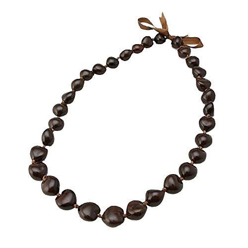 "Hawaiian Dark Brown Kukui Nut 32"" Lei Necklace Graduation Luau Hula"