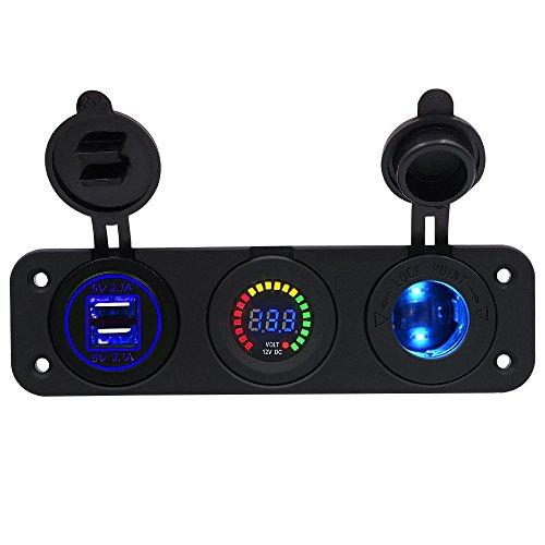 4.2 A Double chargeur USB 12 V LED Couleur écran Voltmètre prise 12 V LED de panneau de prise de courant pour voiture bateau Moto RV SUV (LED bleue)