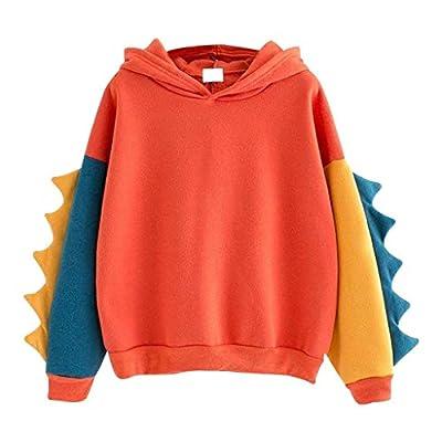 Women Casual Loose Color Block Long Sleeve Dinosaur Hoodies Pullover Tops Hooded Sweatshirt Orange