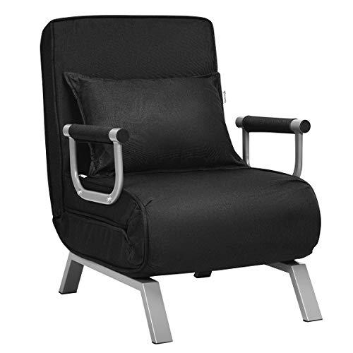 COSTWAY Sofá Cama Plegable Individual Silla Sillón Multifuncional Ajustable para Oficina Balcón (Negro)