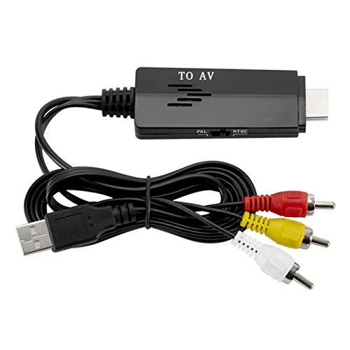 Goshyda Cable convertidor, Todo en uno HD a AV para RCA Cable convertidor 480 i 576 i Cable convertidor de Video Macho a Macho, para TV, VHS, VCR, quemadores de DVD