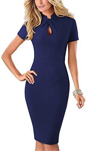 HOMEYEE Women's Short Sleeve Business Church Dress B430 (10, Dark Blue - Solid Color)