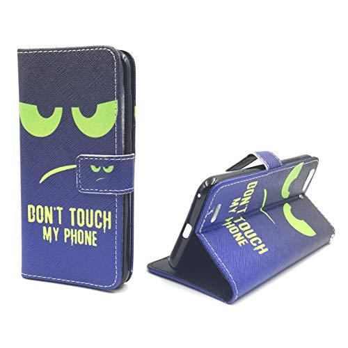 König Design Handyhülle Kompatibel mit ZTE Blade V6 Handytasche Schutzhülle Tasche Flip Hülle mit Kreditkartenfächern - Don't Touch My Phone Grün Dunkelblau