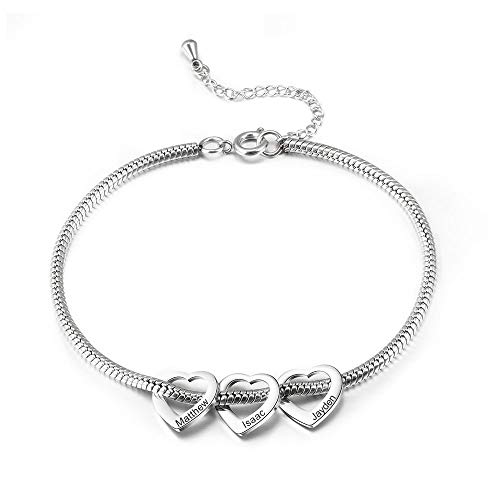 Gemszoo Personalised Ankle Bracelets for Women Teen Girls Silver 3 Love Heart Charm Engraved Custom Name Anklet Gift BFF Summer Beach Anklets 316L Stainless Steel Adjustable Chain 30 cm…