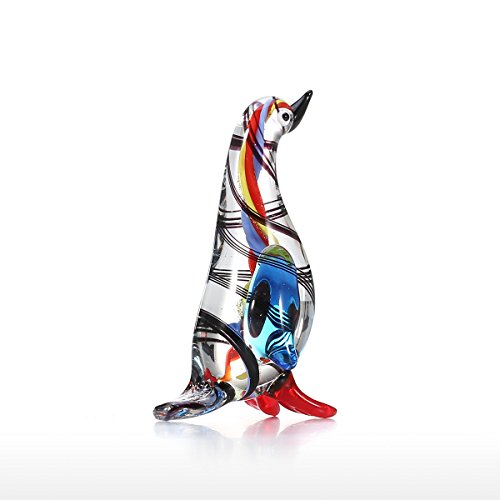 Tooarts Glasskulptur Dekofigur Tier Skulptur aus Glas Handarbeit Kleiner Pinguin
