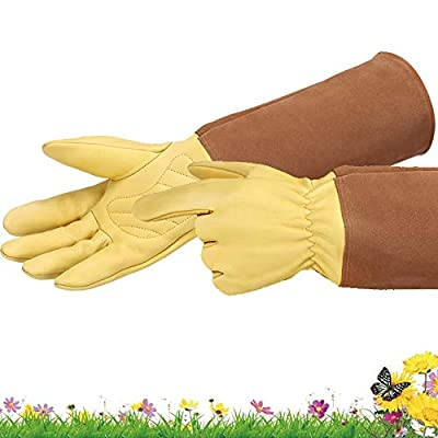 Long Gardening Gloves for Women/Men - Goatskin & Cowhide Leather Thorn Proof Cactus Rose Pruning Gloves Protective Puncture Proof Elbow Long Sleeve Garden Gloves Work Gauntlet for Gardener Gift