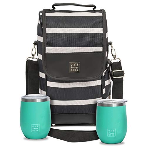 One Savvy Girl Wine Tote Bag with Stainless Steel Stemless Wine Glasses...
