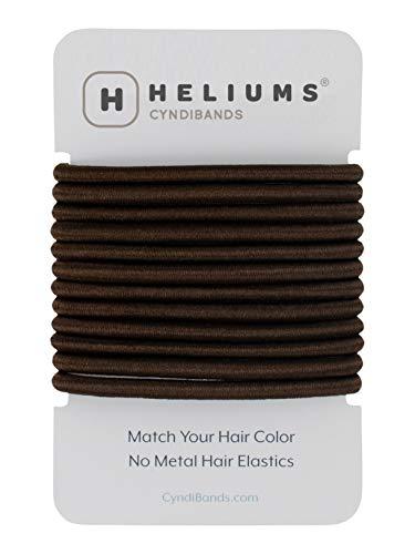 Darkest Brown Brunette Color Match No-Metal 4mm Elastics Hair Ties - 12 Count