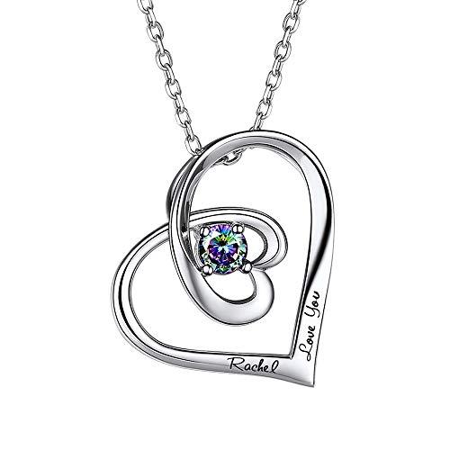 SILVERCUTE Collar Personalizable de Mujer Estás en Mi Corazón Plata de Ley 925 con Topacio de Color Místico Perfecto Regalo para Mujer Niña Día de los Reyes