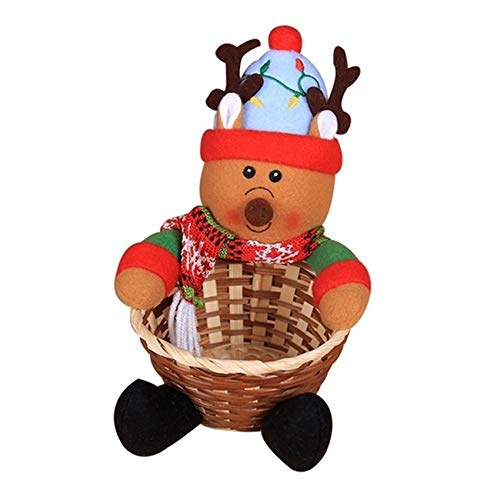 Rlmobes Christmas Candy Storage Basket Merry Christmas Party Decor Gift Basket,elk,4.72 * 7.09 inch