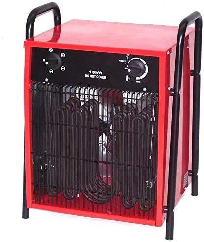 15kW Heizgerät Bauheizer Heizlüfter 55152 Trockner Hallen Zelt Heizung Baulüfter, Elektroheizer 15000W Heizer mit Thermostat, Überhitzungsschutz sowie Temperaturregelung und Ventilator Funktion