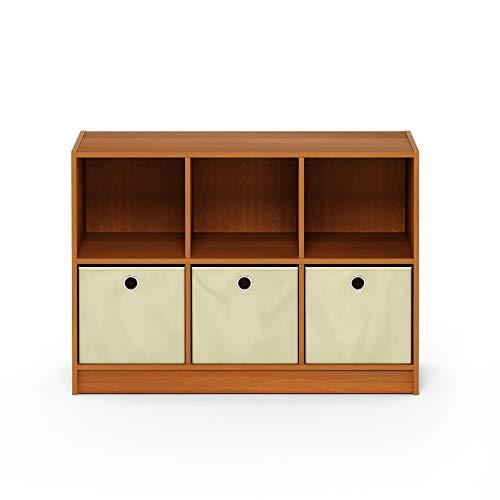 Furinno Basic Bücherregal mit 6 Fächern und 3 Einschüben, eiche, Helle Kirsche/Elfenbein, 30.23 x 80.26 x 59.94 cm