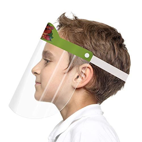 Visera de protección transparente para niños rostro/ojos (160 unidades). Surtido de 4 diseños, pantalla fácil, antisalpicaduras, antivaho, antigoteo, compatible con las gafas, reutilizable.