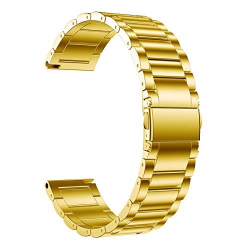 LDFAS compatível com Fossil 22 mm, pulseira de metal de aço inoxidável compatível com Fossil Gen 5 Carlyle/Julianna/Garrett HR, Q Explorist HR Gen 4/3, Sport 43 mm, Founder Gen 2 Smartwatch, Dourado