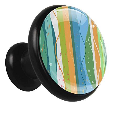 Küchenschrank Knöpfe Farbstreifen Wellen Kleiderschrank Knöpfe Metall klar Schubladen Knopf für Schrank (4 Stück) 3.2x3x1.7cm