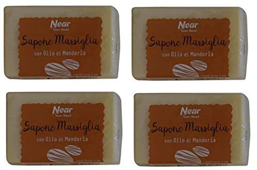 三角ミニ狂信者Near Your Hand:Con Mandorla Marseille Soap with Almond 5.29 Ounce (150g) Package (Pack of 4) [ Italian Import ] [並行輸入品]