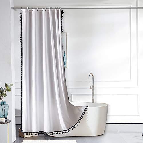 Furlinic Schmaler Duschvorhang für Eck Dusche Kleine Badewanne Weißer Badvorhang Textil aus Stoff Schimmelresistent Wasserabweisend Waschbar mit Schwarzen Quaster 90x180 mit 6 Duschringen.