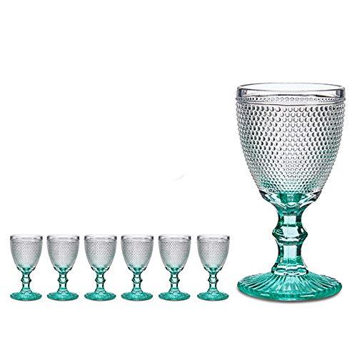 6 x Rotweingläser Weingläser 330ml Rotwein Weinglas Kristal Diamant schnitt VI-6 (Blau-klar)