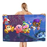 QQIAEJIA Kirby Star Allies Toalla de baño Toalla de Playa Absorbente Portátil Ligero para baños Piscinas Playas Extra Grande 52x32 Pulgadas